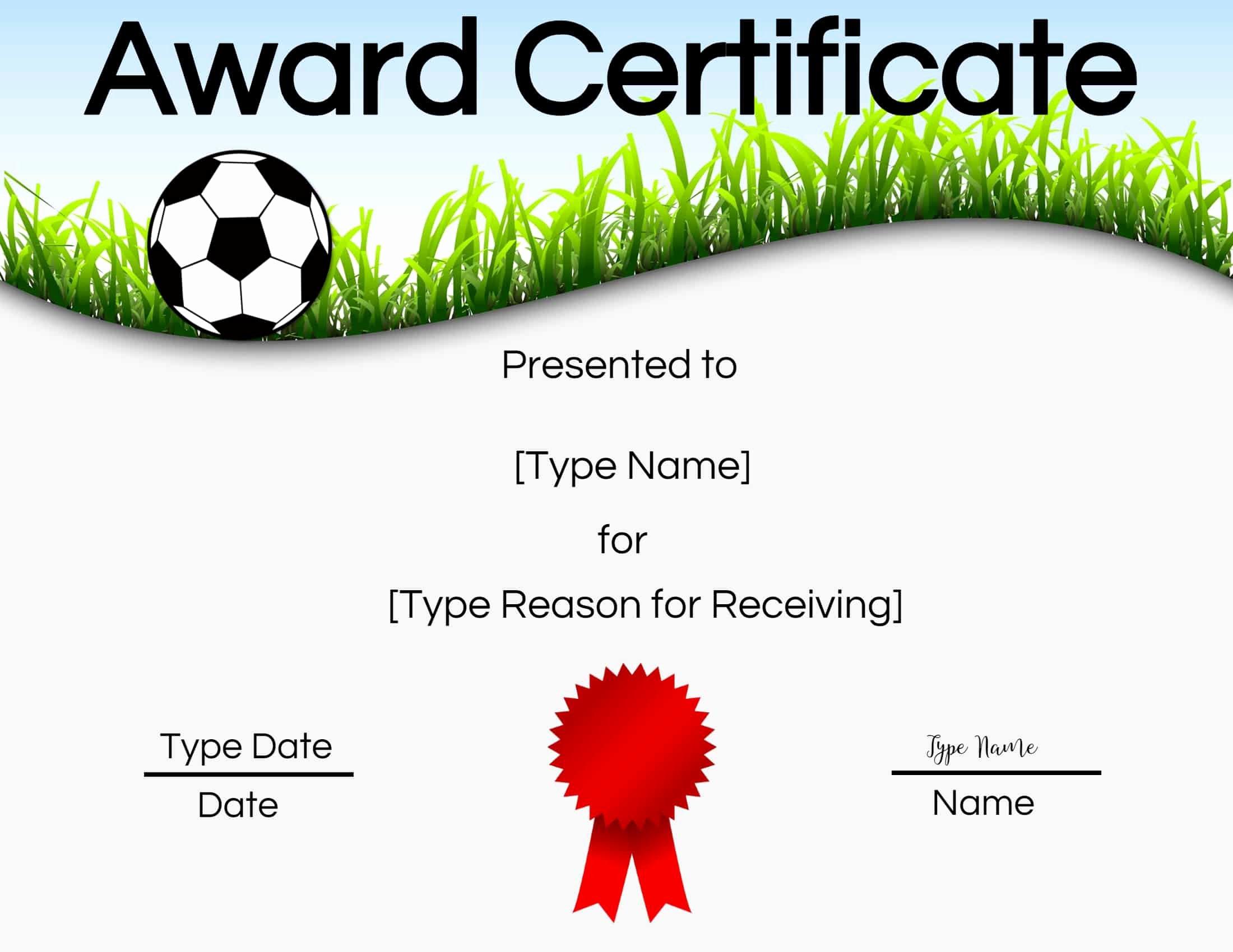 Soccer Awards Certificates Templates Unique Free soccer Certificate Maker