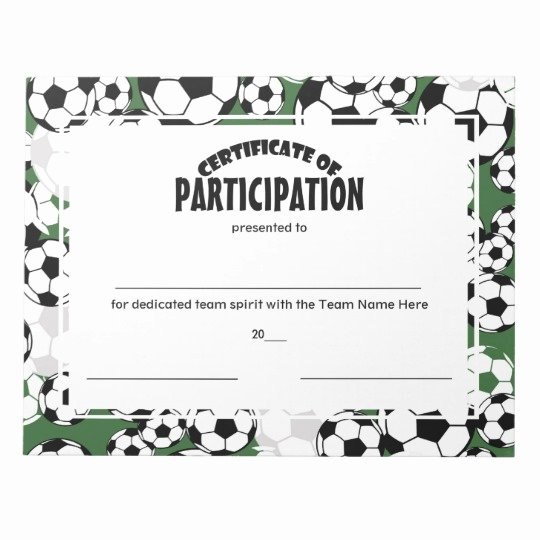 Soccer Certificate Award Ideas Best Of soccer Certificates Of Participation Notepad