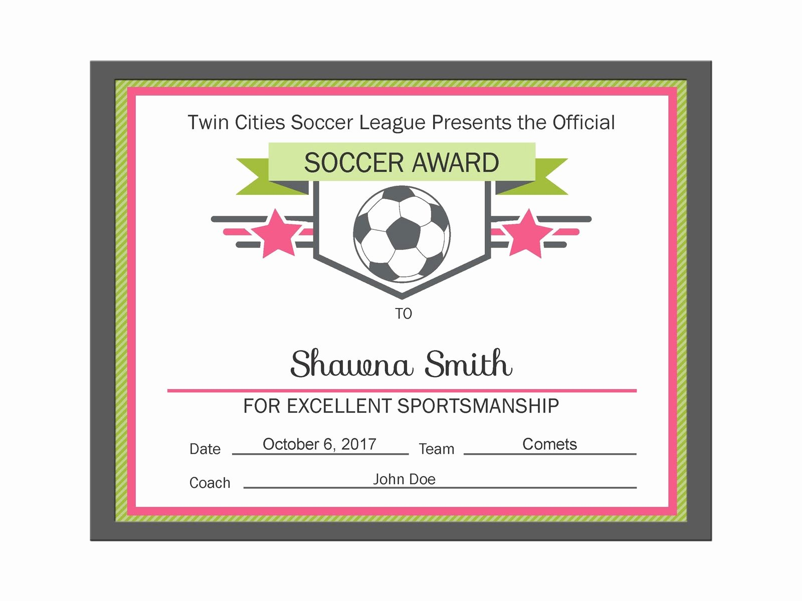 Soccer Certificate Award Ideas Elegant soccer Award Ideas