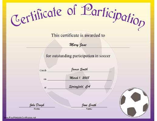 Soccer Certificate Award Ideas Fresh soccer Participation Certificate Printable Certificate