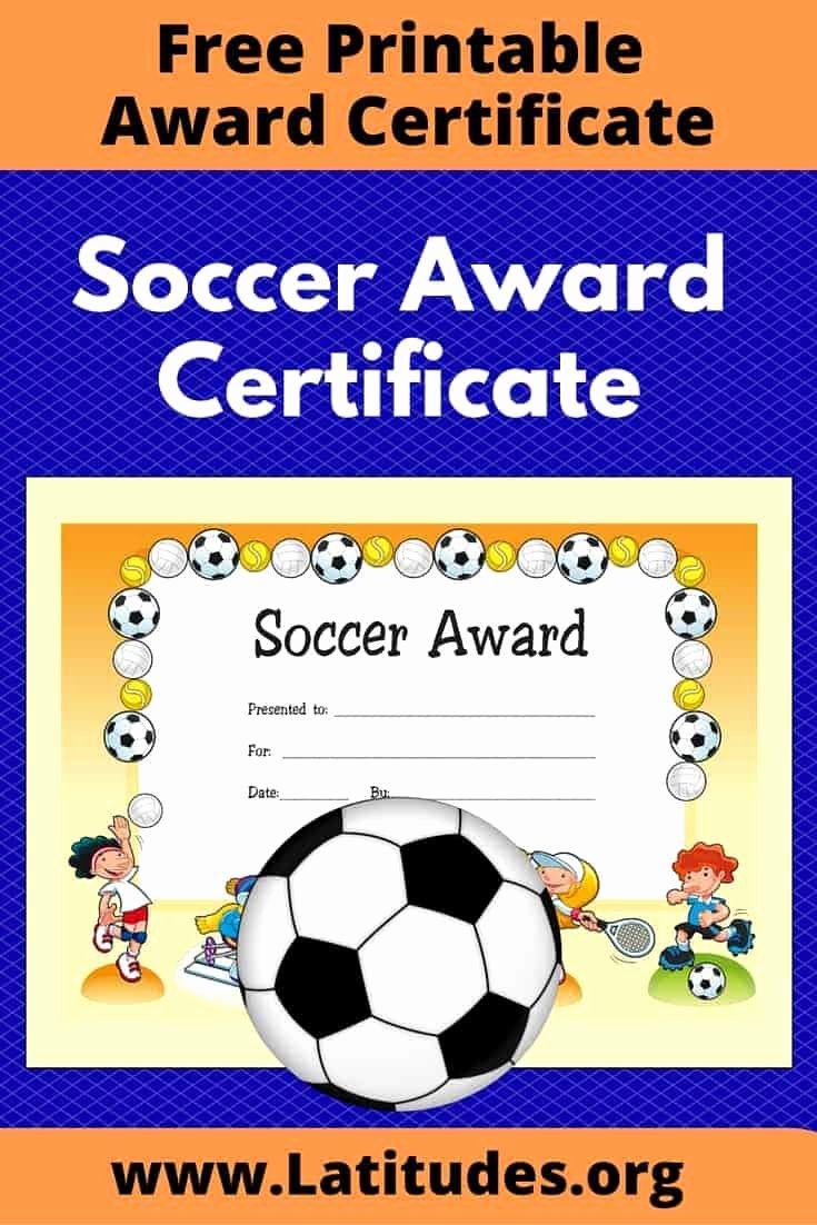 Soccer Certificate Award Ideas Inspirational Free Award Certificate for soccer Primary