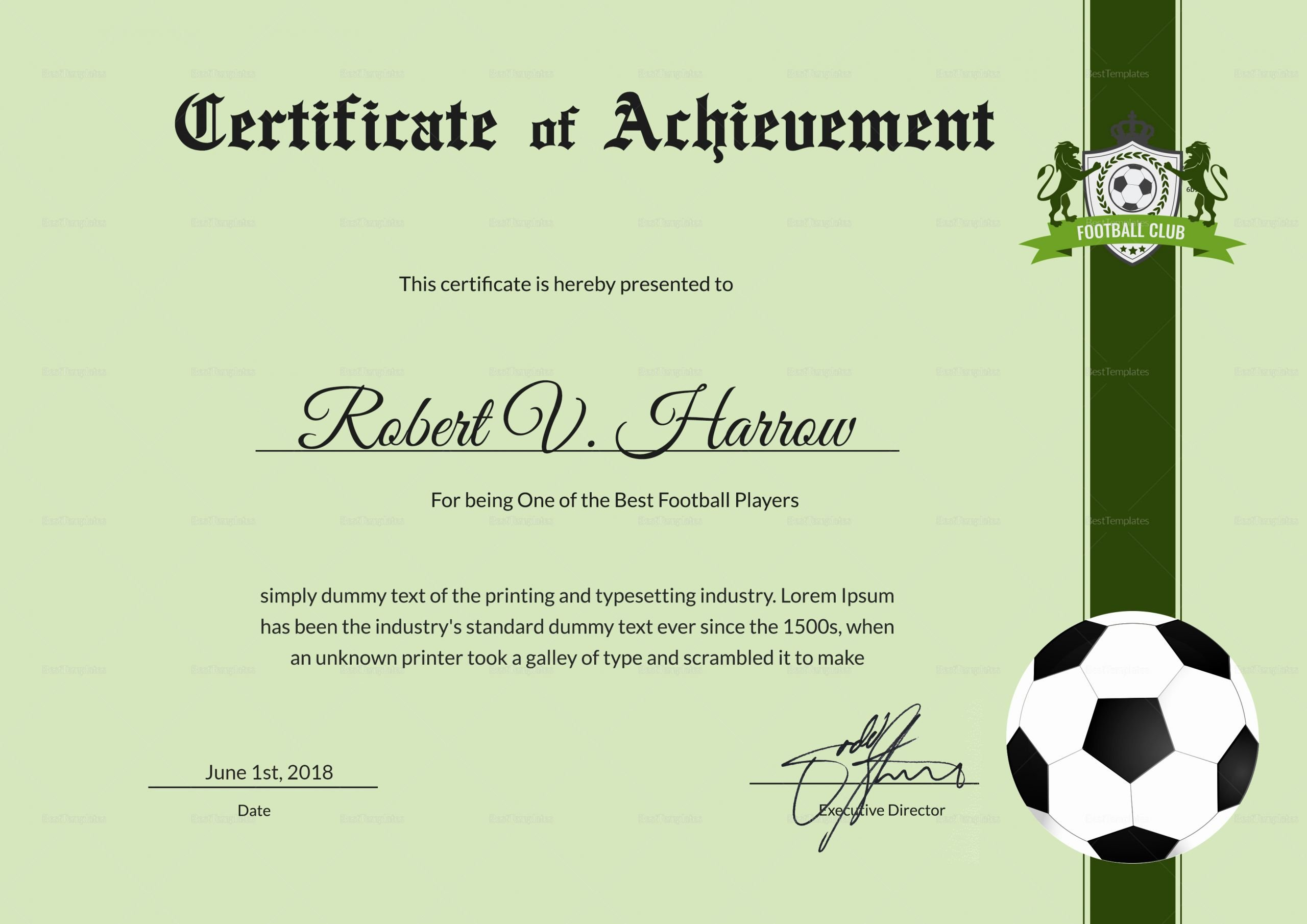Soccer Certificate Of Achievement Awesome Football Achievement Award Design Template In Psd Word