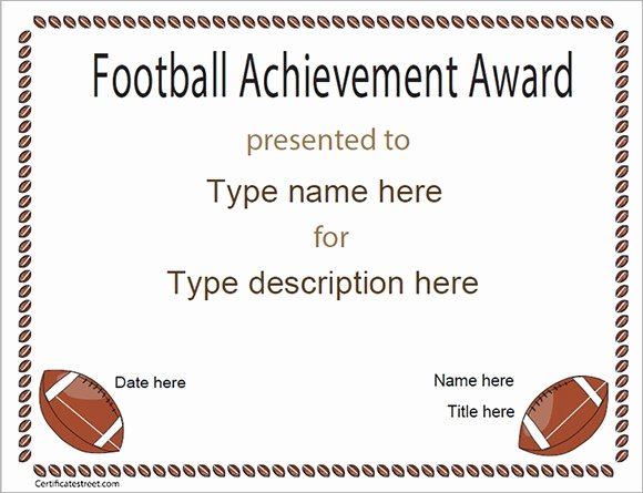 Soccer Certificate Of Achievement Awesome Free 16 Sample Football Certificate Templates In Pdf