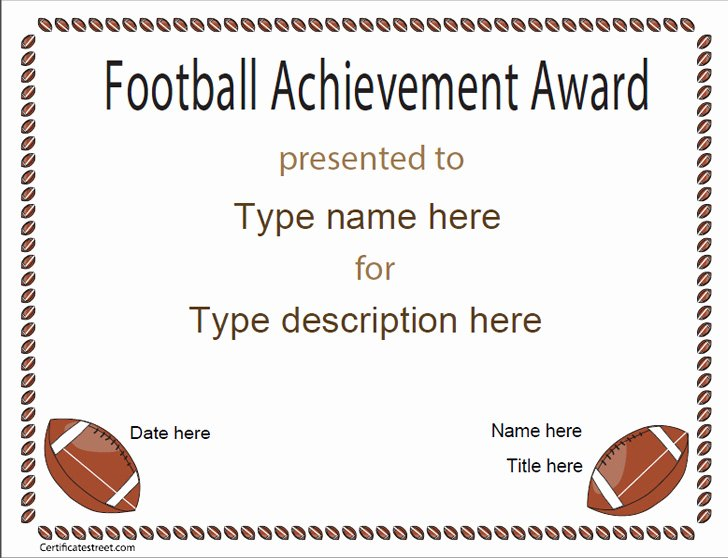 Soccer Certificate Of Achievement Awesome Sports Certificates Football Achievement Award