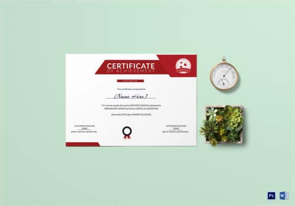 Soccer Certificate Of Achievement Elegant soccer Certificate 13 Word Psd Ai Indesign format