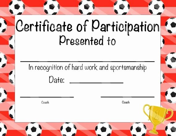 Soccer Certificate Of Achievement Inspirational Items Similar to soccer Certificate Of Achievement