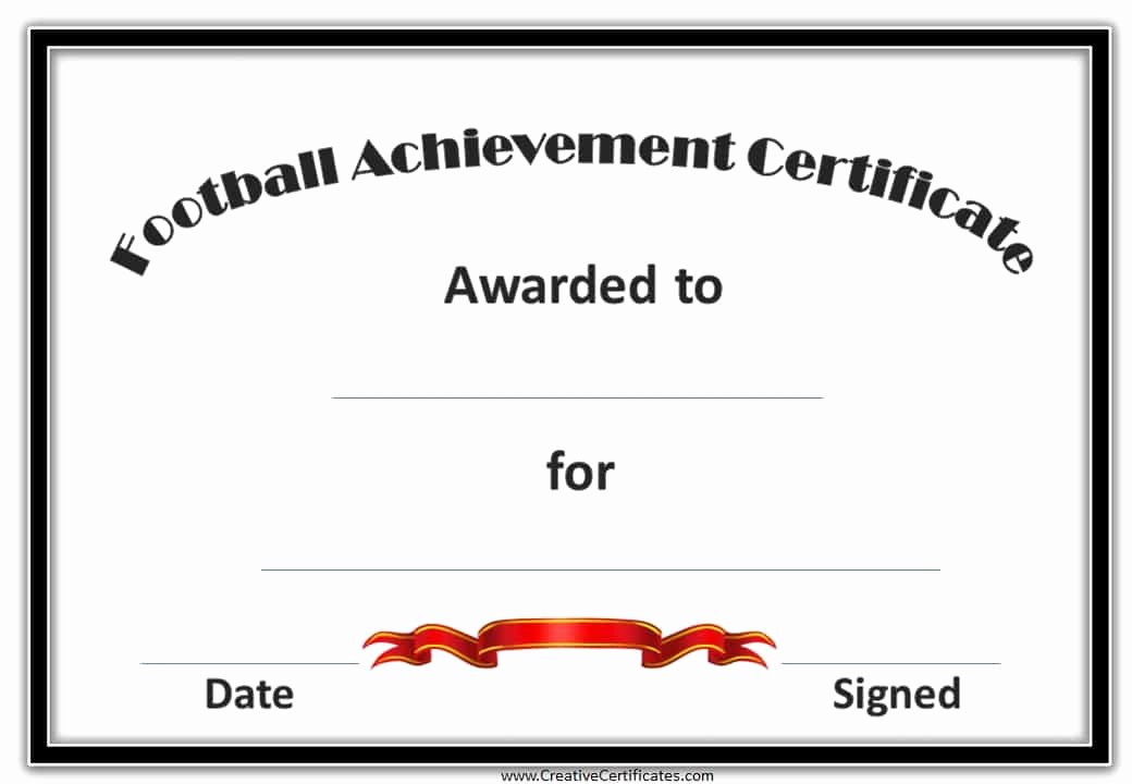 Soccer Certificate Of Achievement Lovely Free Custom Football Certificates
