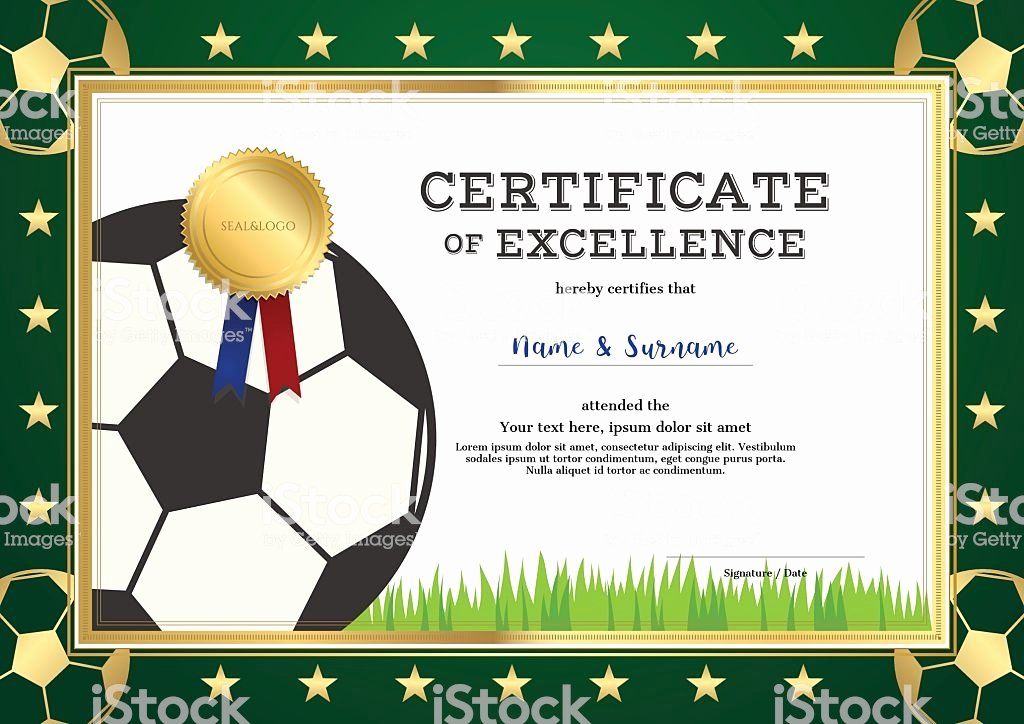 Soccer Certificate Of Achievement New Certificate Excellence Template In Sport theme for