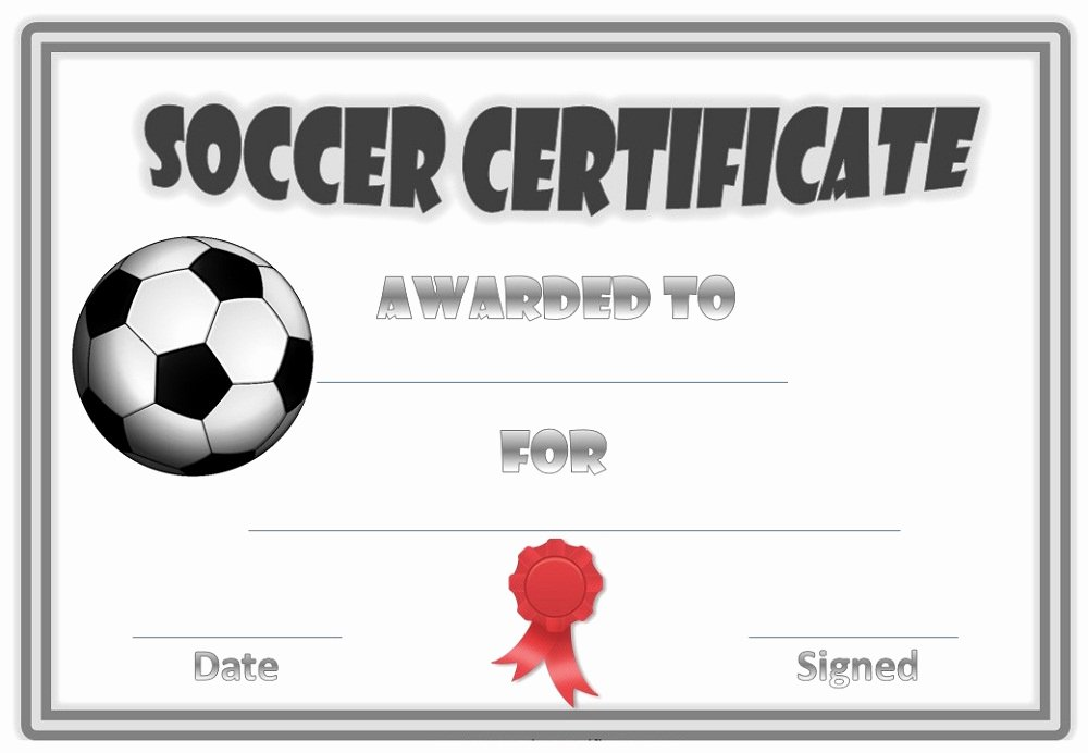 Soccer Certificate Of Achievement New soccer Award Certificates
