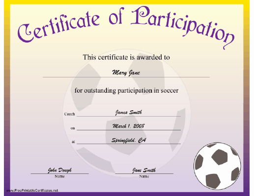 Soccer Certificate Of Achievement New soccer Participation Certificate Printable Certificate