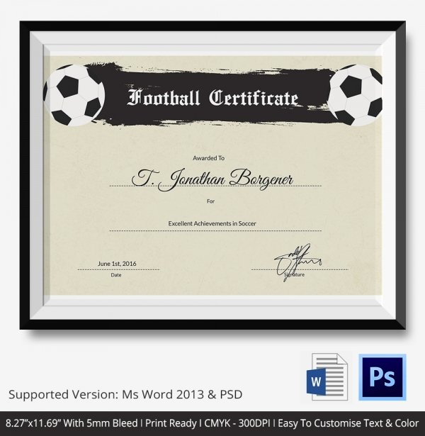 Soccer Certificate Template Word Awesome 10 Football Certificate Templates Free Word Pdf