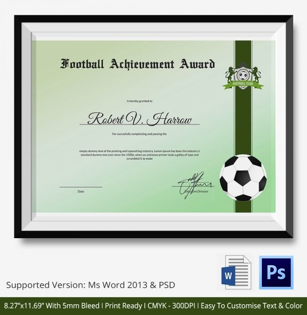 Soccer Certificate Template Word Inspirational 10 Football Certificate Templates Free Word Pdf