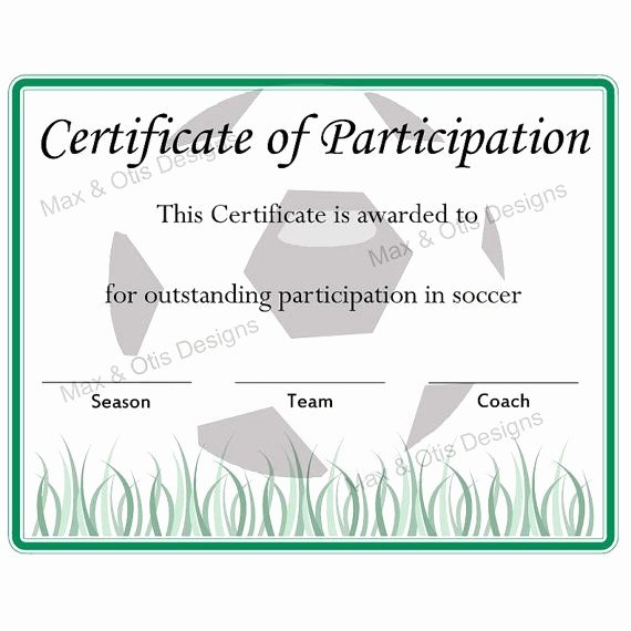 Soccer Certificate Template Word Unique Free Printable soccer Participation Certificate