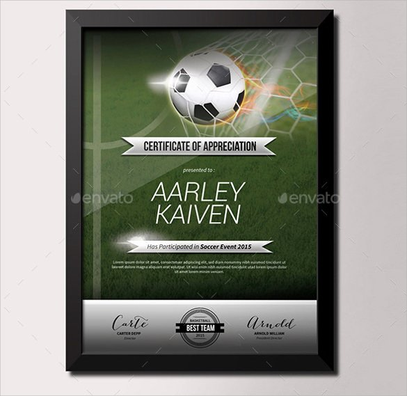 Soccer Certificate Templates for Word Beautiful soccer Certificate Template 18 Psd Ai Indesign Word