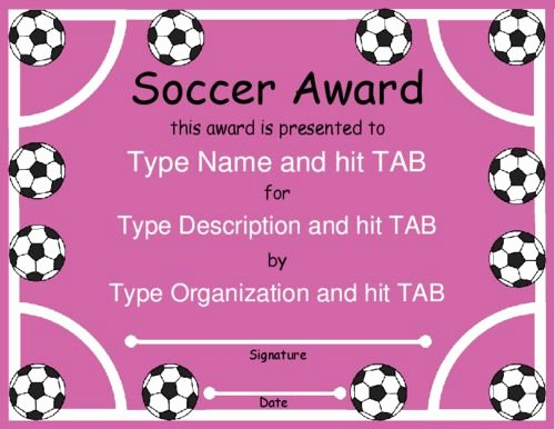 Soccer Certificate Templates for Word Best Of soccer Balls Pink Fully Editable Girl Stuff
