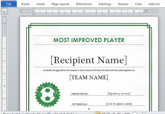 Soccer Certificate Templates for Word Elegant Printable Sports Certificate Template for Word