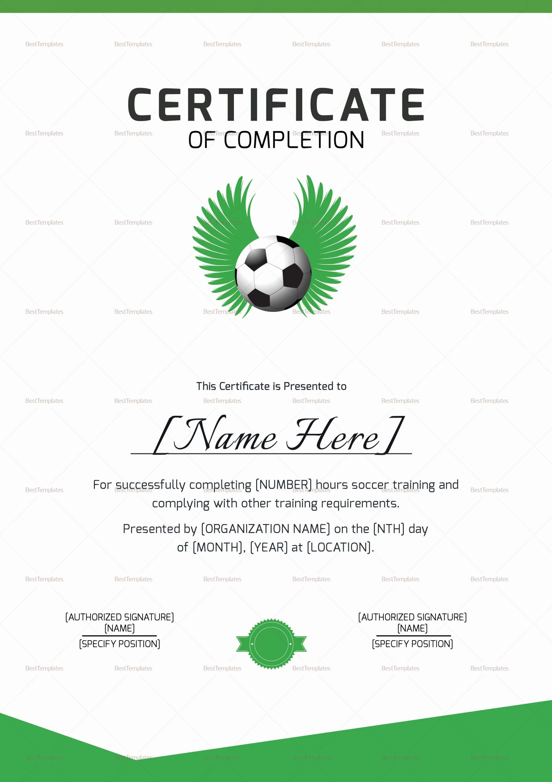 Soccer Certificate Templates for Word Fresh soccer Pletion Certificate Design Template In Psd Word