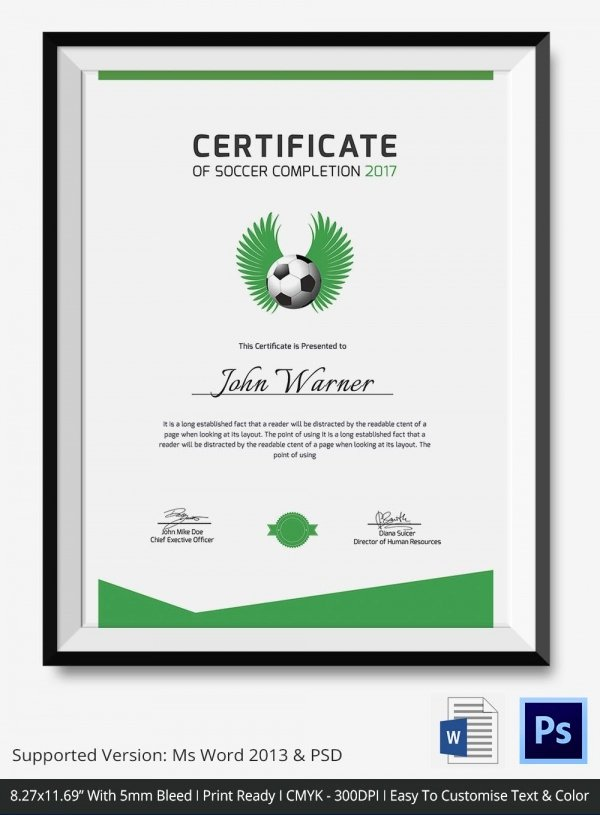 Soccer Certificate Templates for Word Luxury soccer Certificate 5 Word Psd format Download