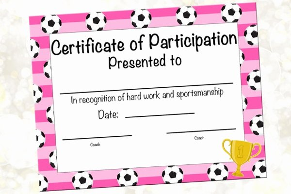 participation for sports certificate template