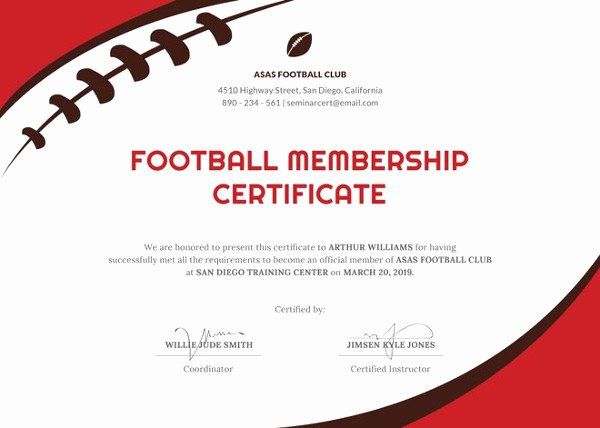 sample sports certificate