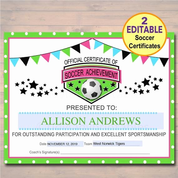 Soccer Certificate Word Template New Editable soccer Award Certificates Instant Download Team