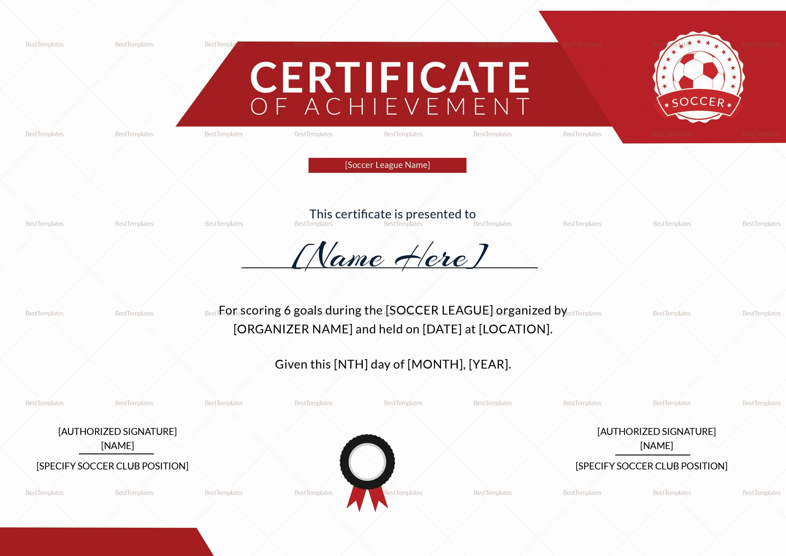 Soccer Certificate Word Template New soccer Achievement Certificate Design Template In Psd Word