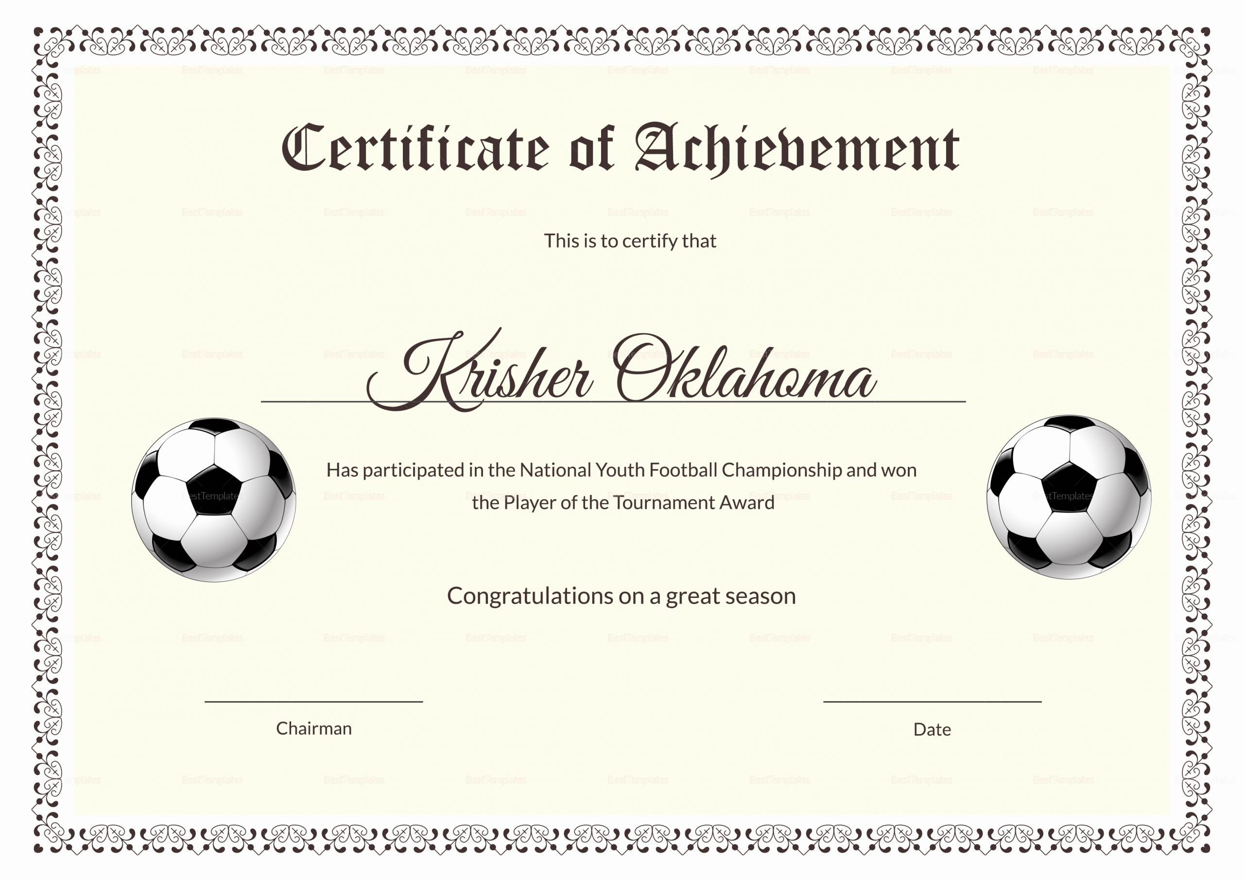 Soccer Certificate Word Template Unique National Youth Football Certificate Design Template In Psd