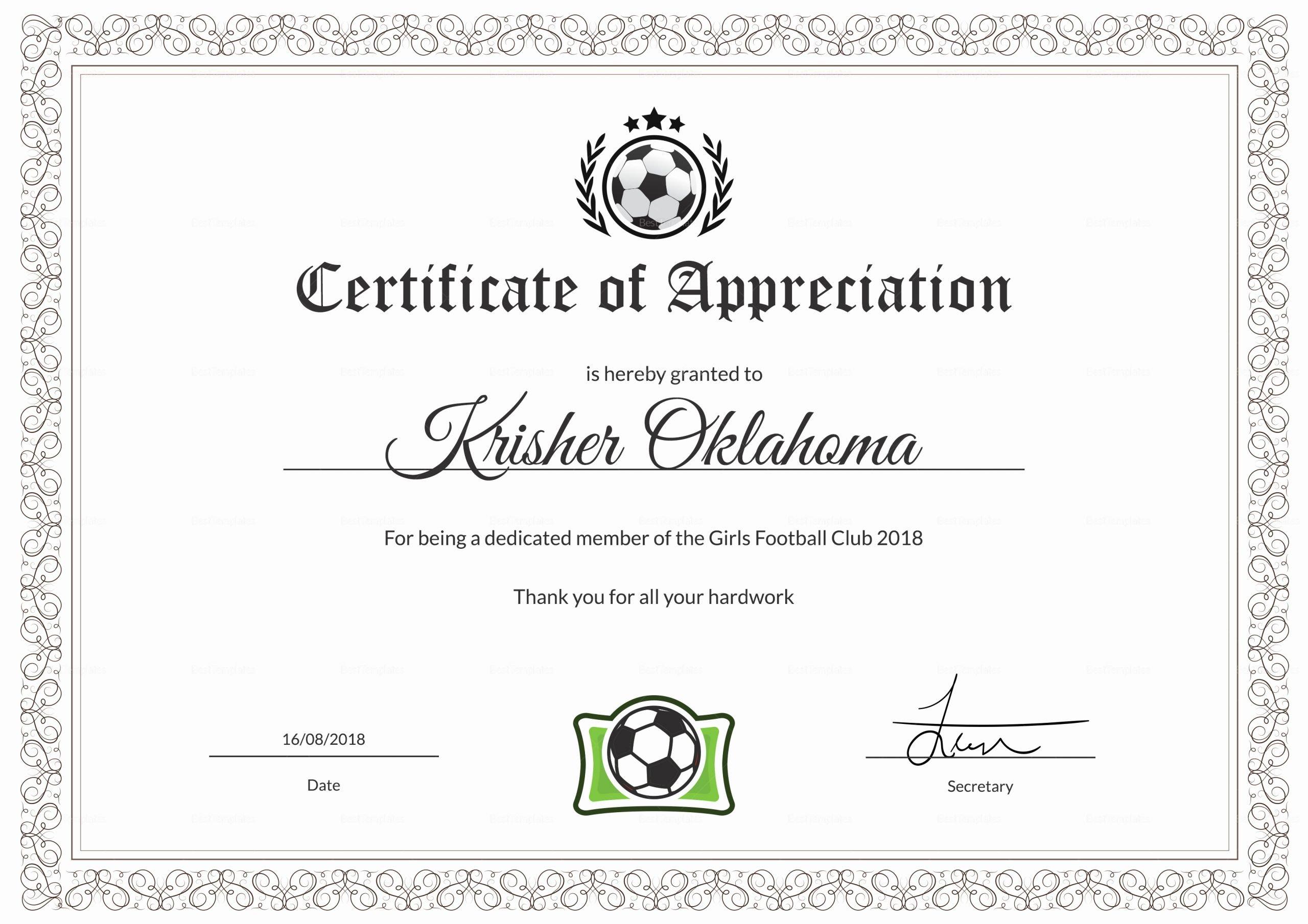 Soccer Certificates Microsoft Word Best Of Women Football Appreciation Certificate Design Template In
