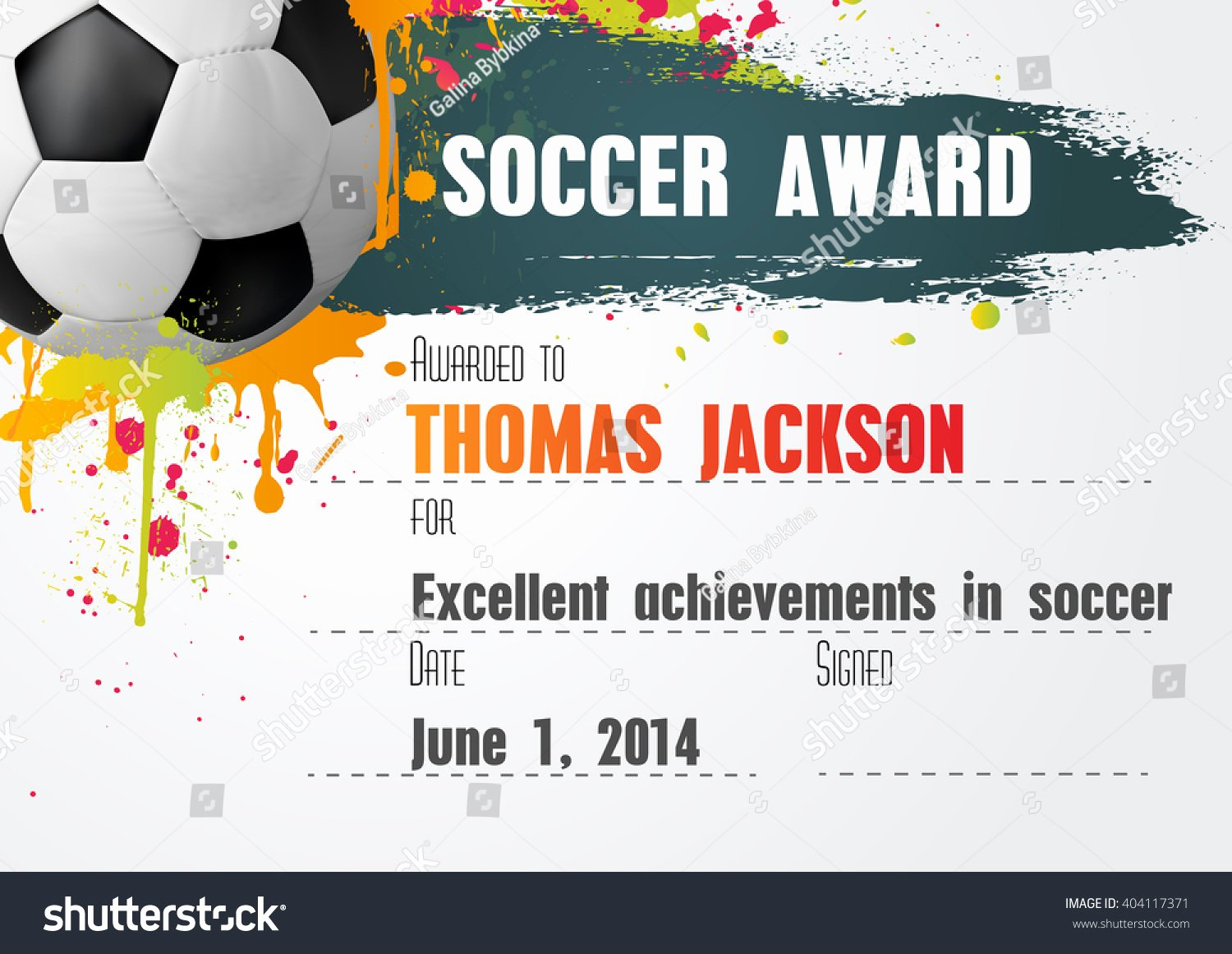 soccer certificate template football ball icon