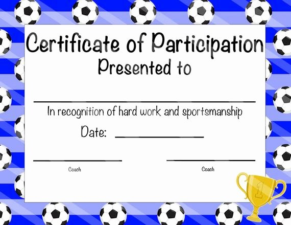 Soccer Participation Certificate Template Awesome soccer Certificate Of Participation soccer by