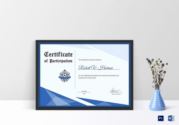 Soccer Participation Certificate Template Beautiful 27 Award Certificate Examples & Samples
