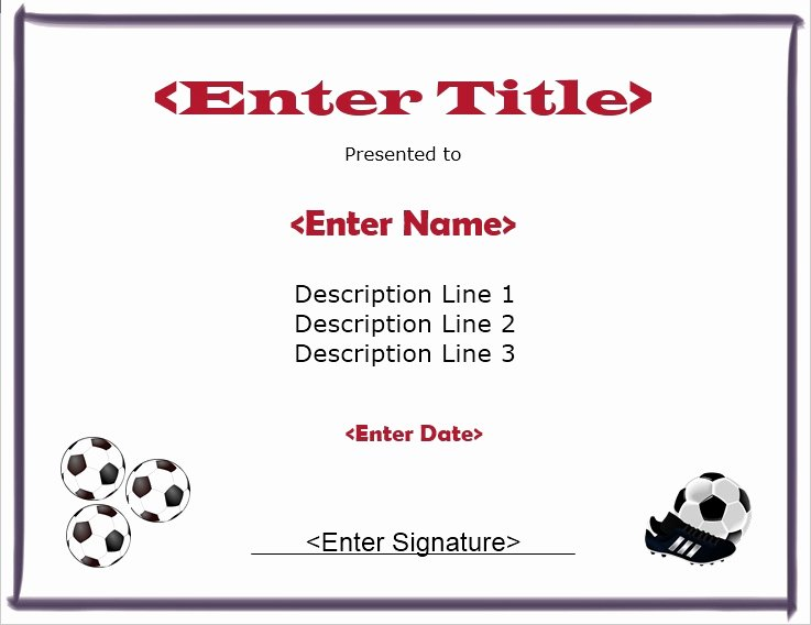 Soccer Participation Certificate Template Beautiful soccer Participation Certificate