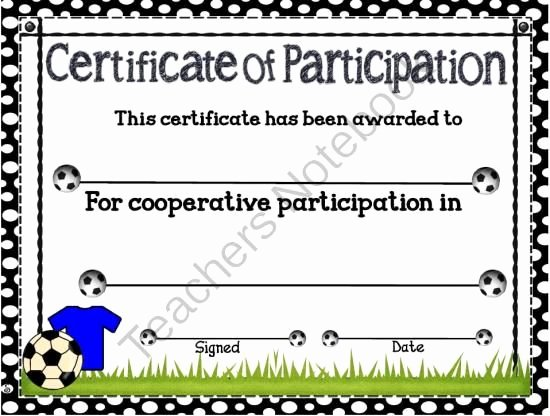 Soccer Participation Certificate Template Best Of Products Sports and Teaching On Pinterest