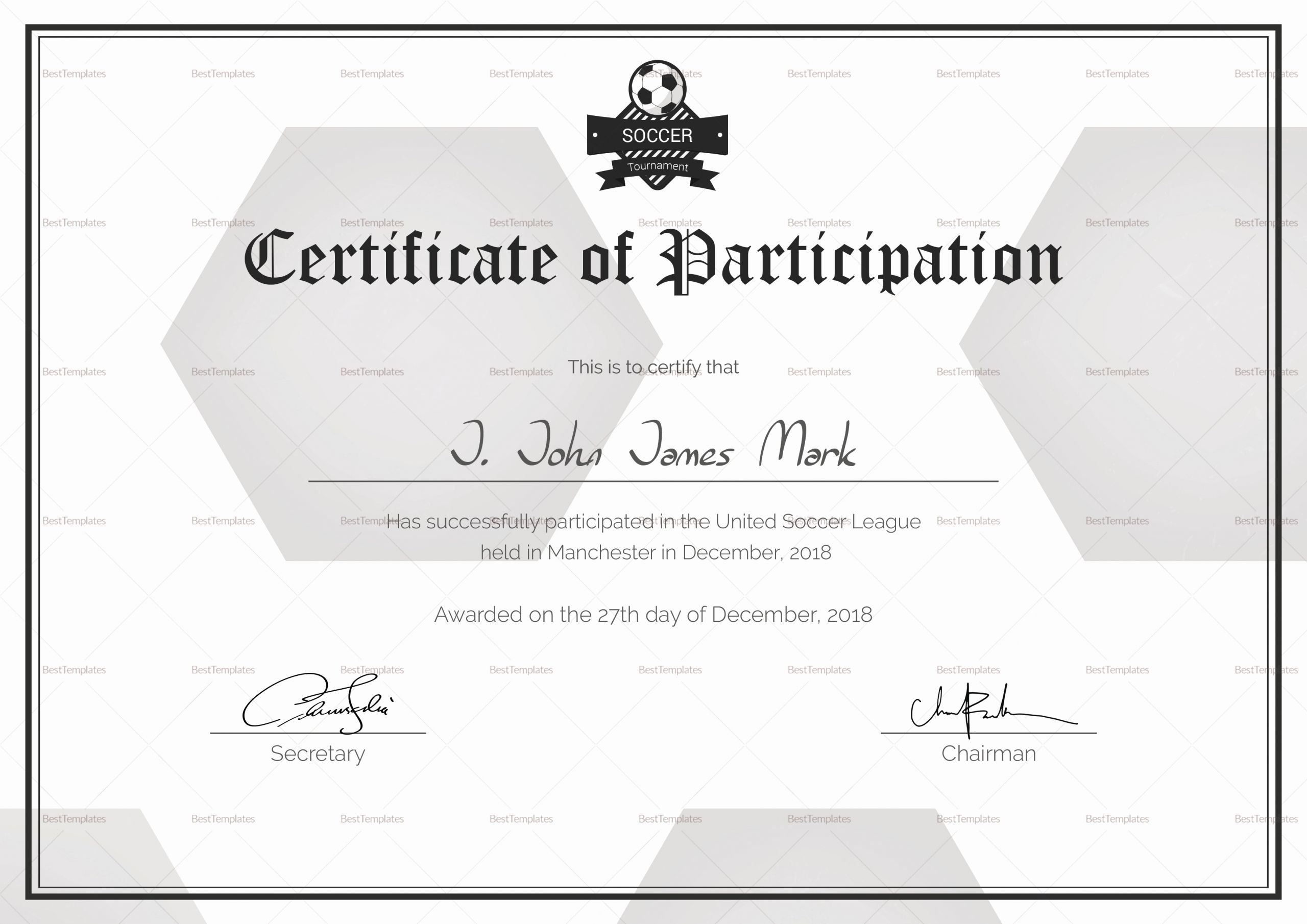 Soccer Participation Certificate Template Elegant soccer Participation Certificate Design Template In Psd Word