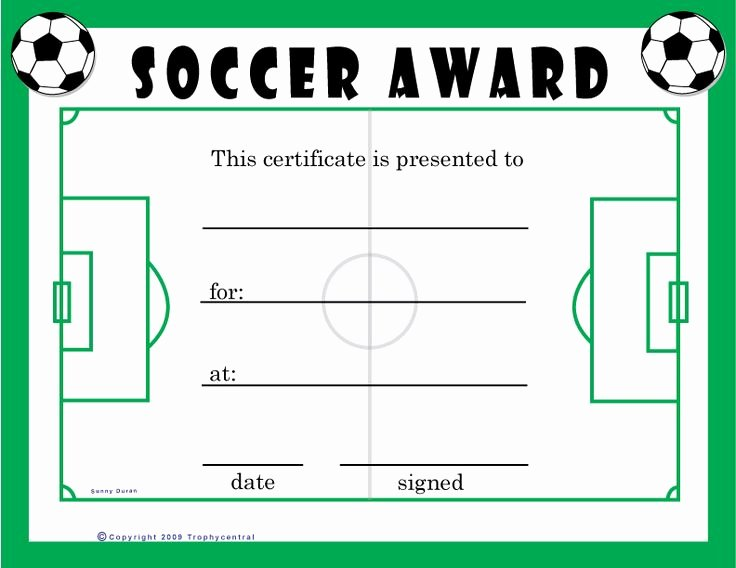 Soccer Participation Certificate Template Inspirational Free soccer Certificates $0 00 for the Kids