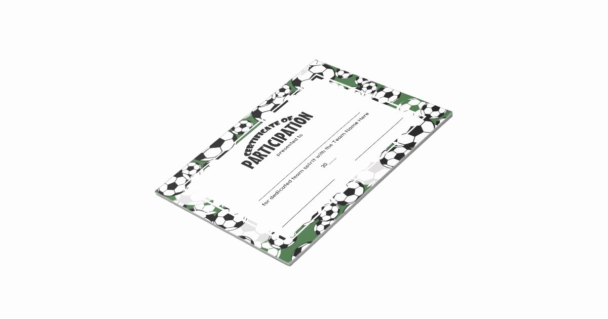 Soccer Participation Certificate Template Inspirational soccer Certificates Of Participation Notepad