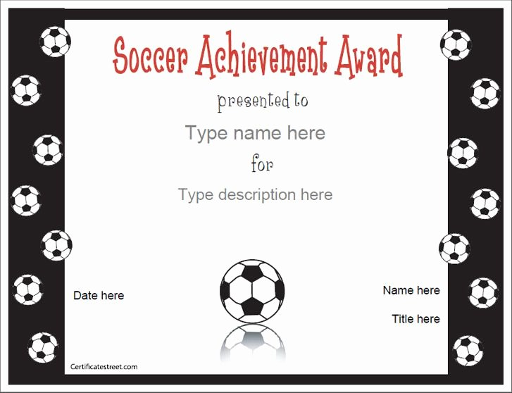 Soccer Participation Certificate Template Lovely Sports Certificates soccer Award