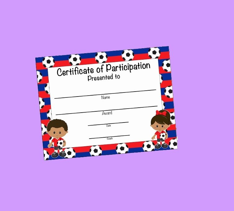 Soccer Participation Certificate Template Luxury Certificate Of Participation Templates
