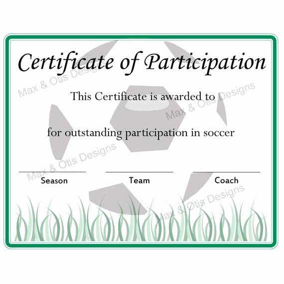 Soccer Participation Certificate Template Luxury soccer Certificate Of Participation Certificate by Maxandotis