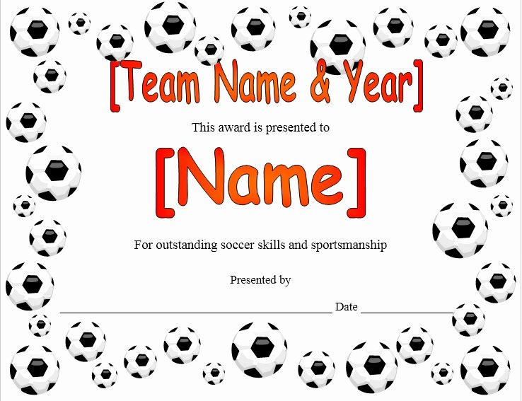 Soccer Participation Certificate Template Luxury soccer Participation Certificate