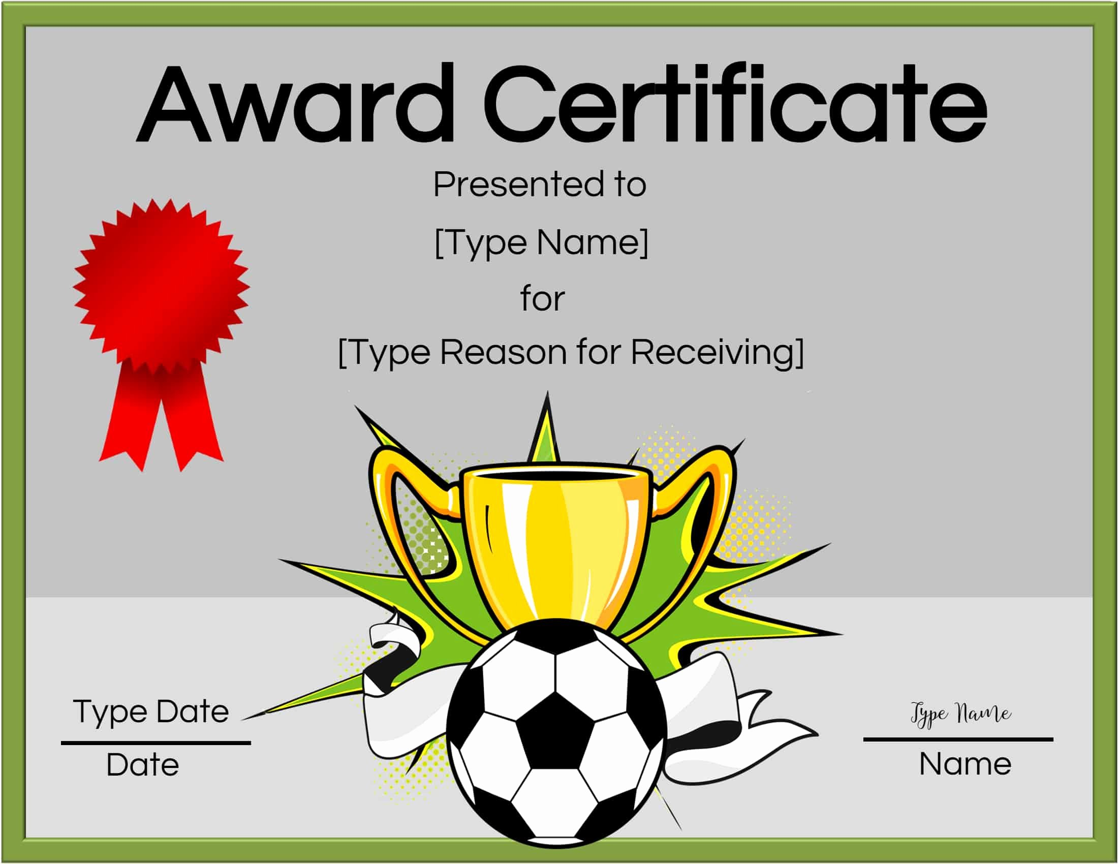 Soccer Team Award Ideas Fresh Free soccer Certificate Maker