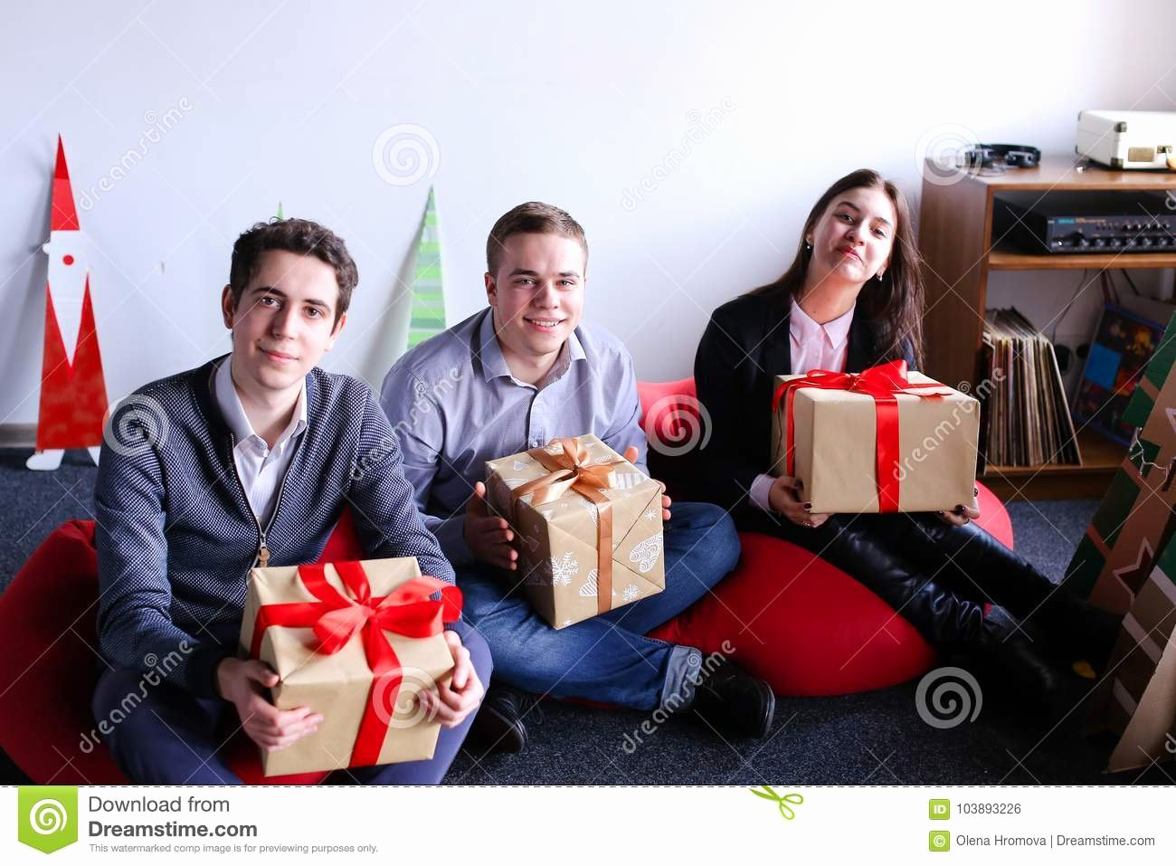 Soft Hands Achievement 2 Man Inspirational Young Woman and Two Man Posing and Smiling with Holiday