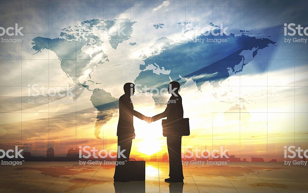 Soft Hands Achievement 2 Man Lovely Two Business Man Shake Hand Silhouettes City with World