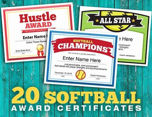 softball team award certificates