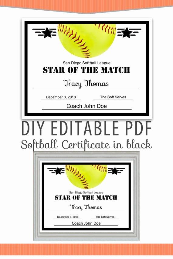 Softball Award Certificate Template Awesome Editable Pdf Sports Team softball Certificate Diy Award