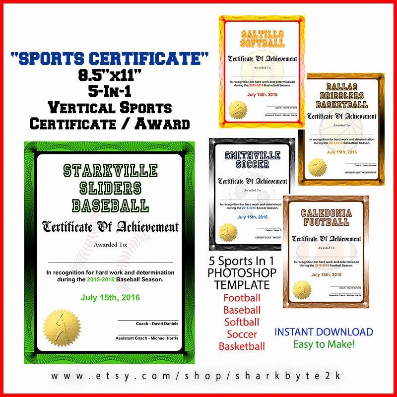 Softball Award Certificate Template Best Of 5 In 1 Sports Award Certificate Achievement Shop