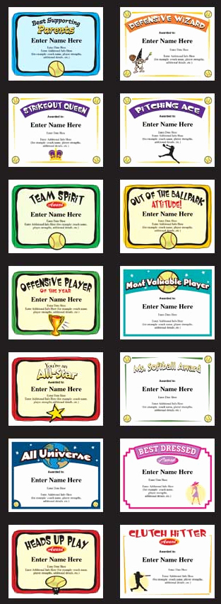 Softball Award Certificate Template Inspirational softball Certificates Award Templates and Coaching forms