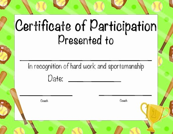 Softball Award Certificate Template Lovely Instant Download softball Certificate Of Achievement