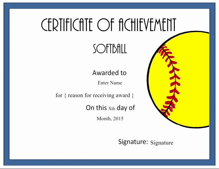 Softball Award Certificate Template Lovely Printable Award Baseball