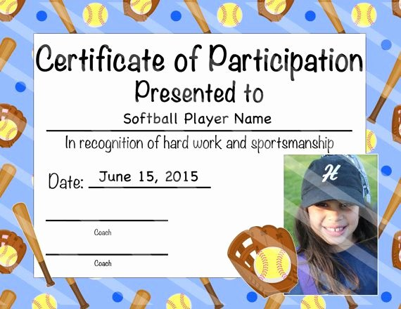 Softball Award Certificate Template Lovely softball Certificate Of Participation by